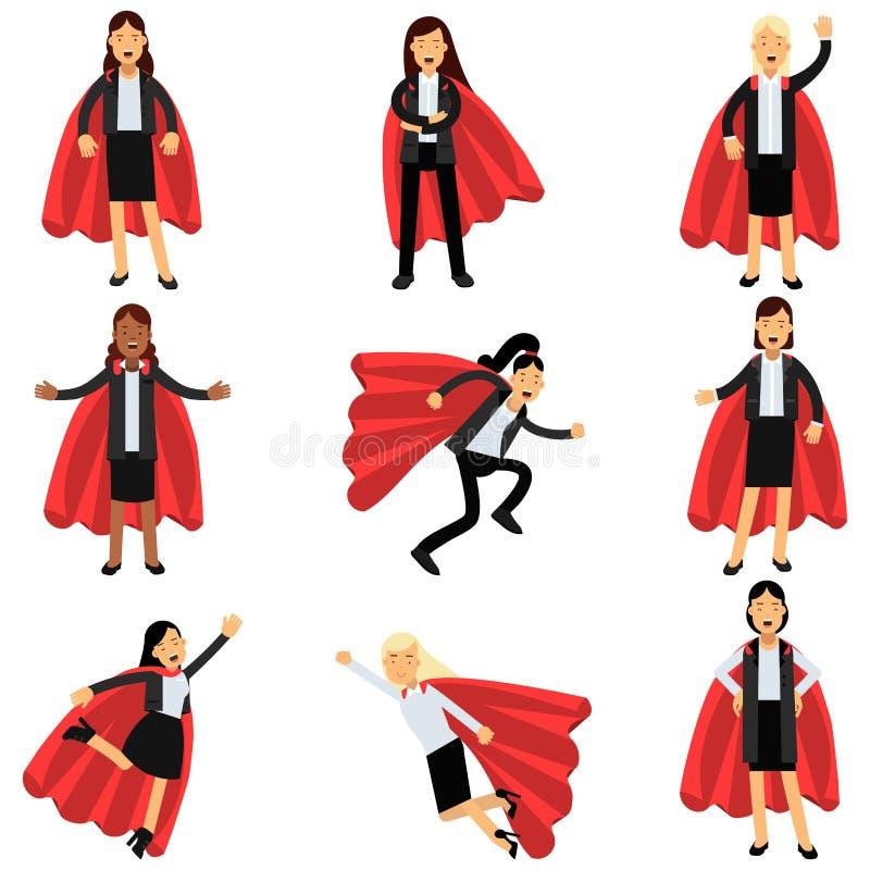 Femmes d'affaires utilisant les costumes formels de bureau avec les caps rouges de super héros Personnages féminins dans différen illustration libre de droits