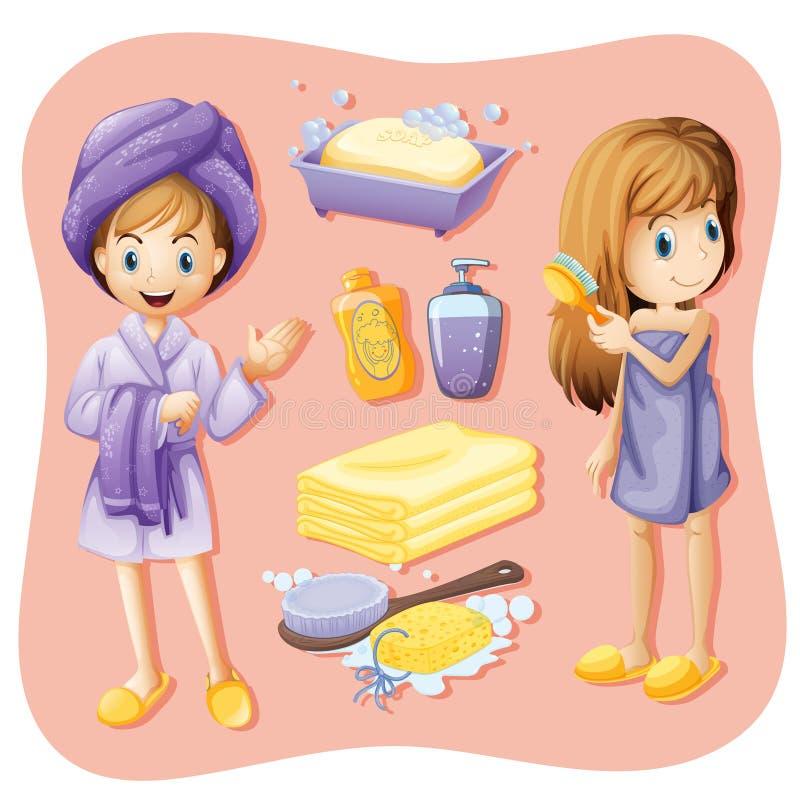 Femmes dans l'ensemble de peignoir et de salle de bains illustration stock