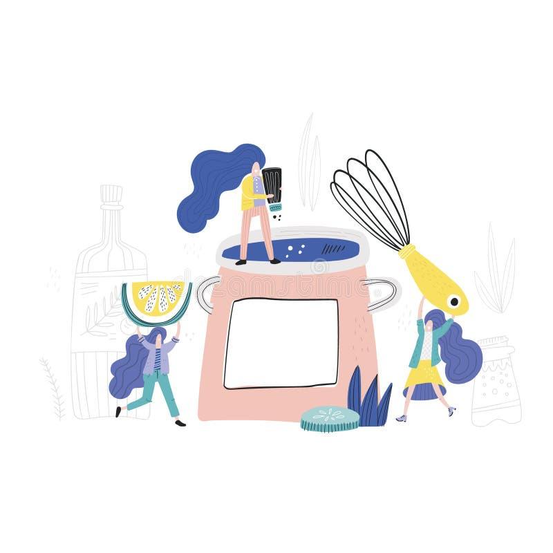 Femmes dans la cuisine illustration de vecteur