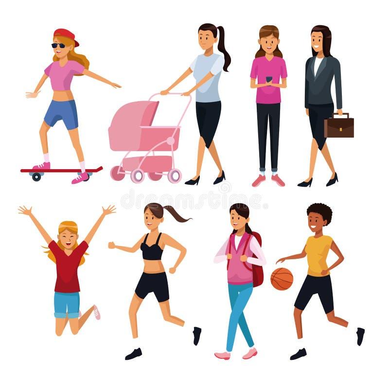Femmes dans le jour courant illustration stock
