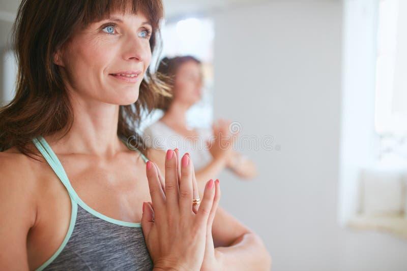 Femmes dans le yoga de pose d'arbre avec Namaste image libre de droits