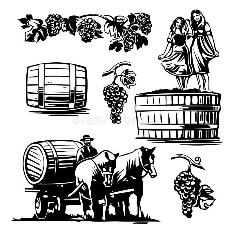 Femmes dansant dans un baril avec des raisins et l'aurige illustration stock