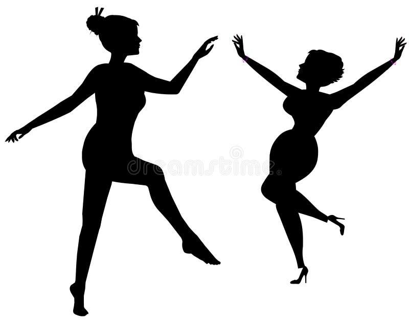 Femmes dansant en silhouette illustration stock