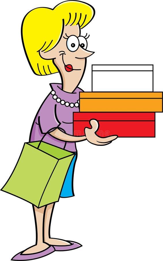 Femmes de bande dessinée tenant des paquets illustration stock