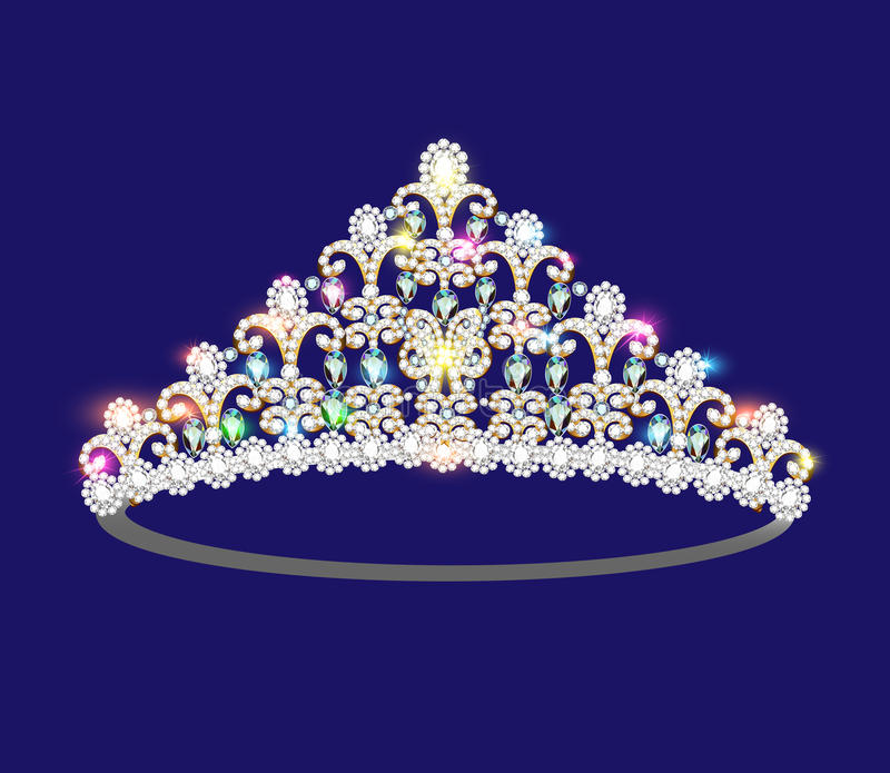 Femmes de diadème de couronne avec les pierres précieuses éclatantes illustration libre de droits