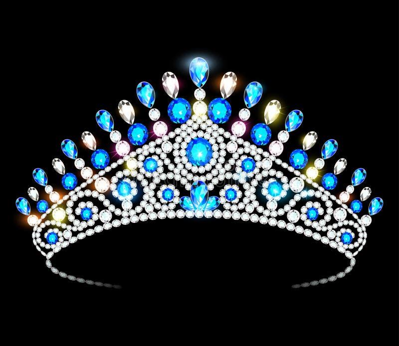 Femmes de diadème de couronne avec les pierres précieuses éclatantes illustration de vecteur
