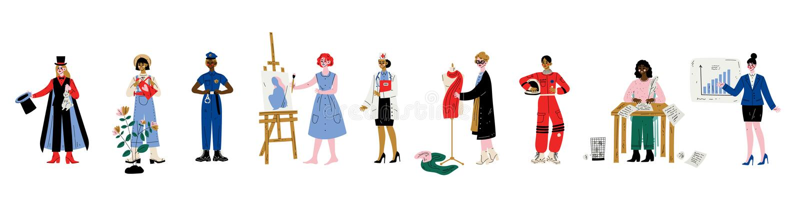 Femmes de diverses professions ensemble, magicien, jardinier, policier, artiste, docteur, couturier, auteur illustration libre de droits