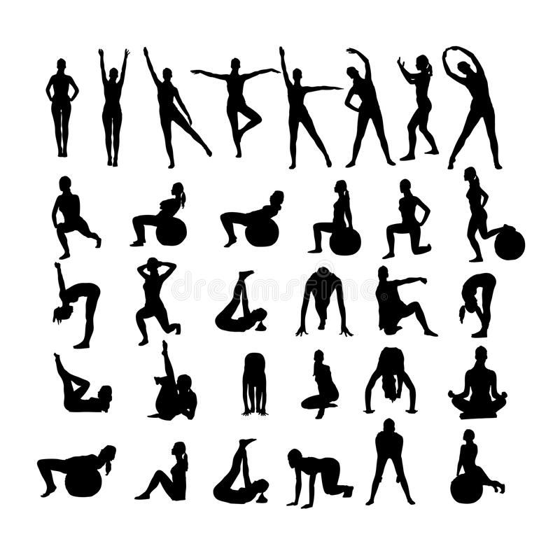 Femmes de forme physique sur le fond blanc. illustration de vecteur