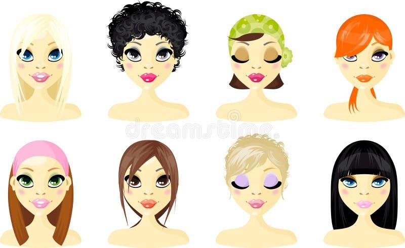 Femmes de graphisme d'avatar illustration de vecteur