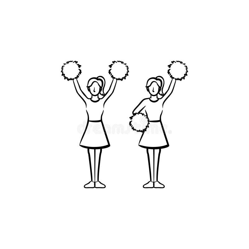 Femmes de majorette avec l'icône tirée par la main de pom-pom illustration libre de droits