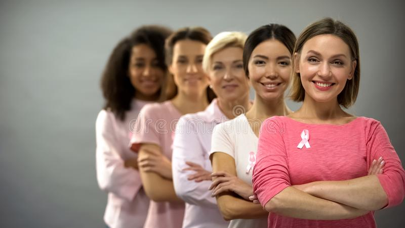 Femmes de sourire dans des chemises roses avec des rubans de cancer du sein se tenant dans la rang?e, appui images libres de droits