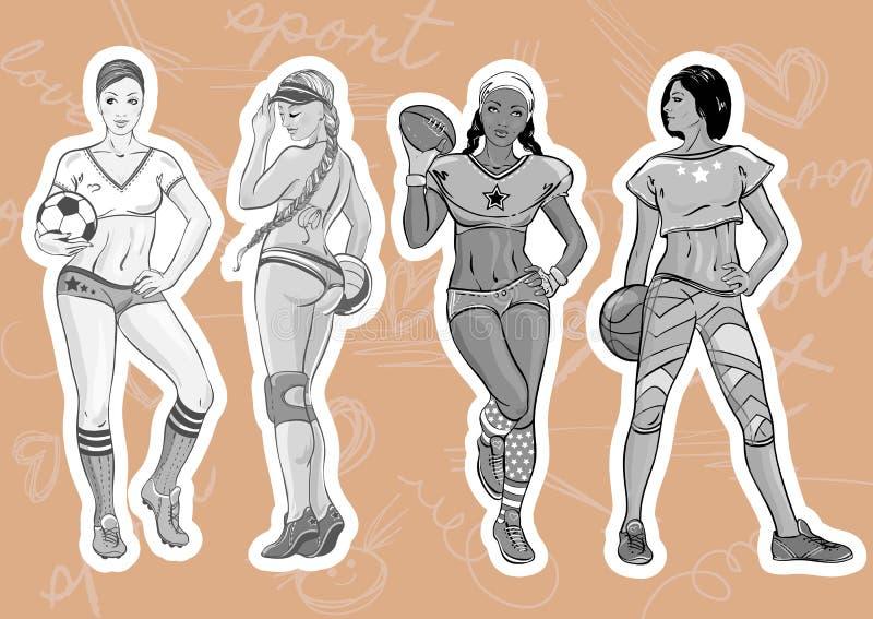 Femmes de style de sport réglées : jeunes belles filles sportives représentant le genre différent de sport : rugby, le football,  illustration stock