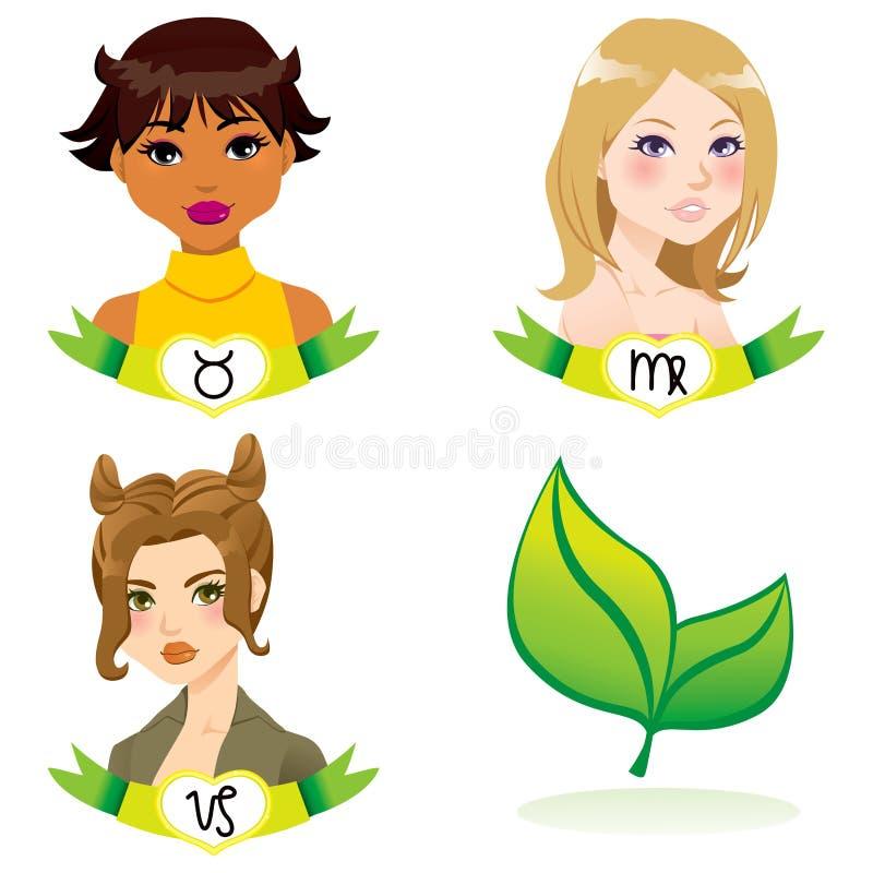 Femmes de zodiaque de la terre illustration libre de droits