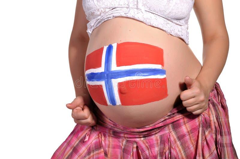 Femmes enceintes avec l'art de fuselage sur son estomac photos libres de droits