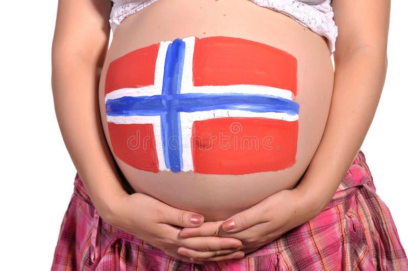 Femmes enceintes avec l'art de fuselage sur son estomac photo stock