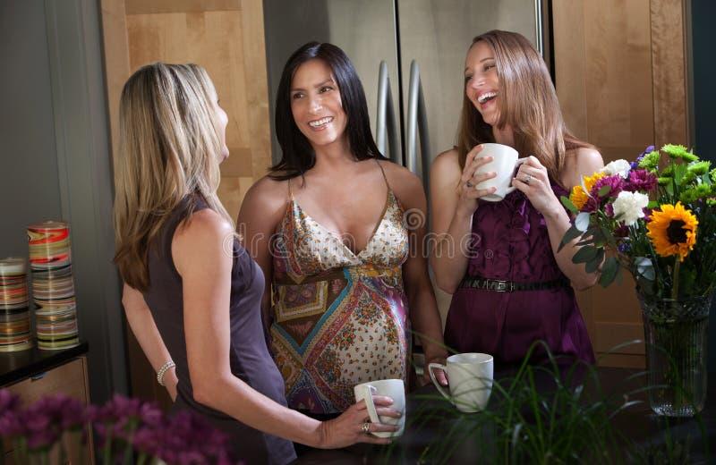 Femmes enceintes de sourire avec des amis images stock