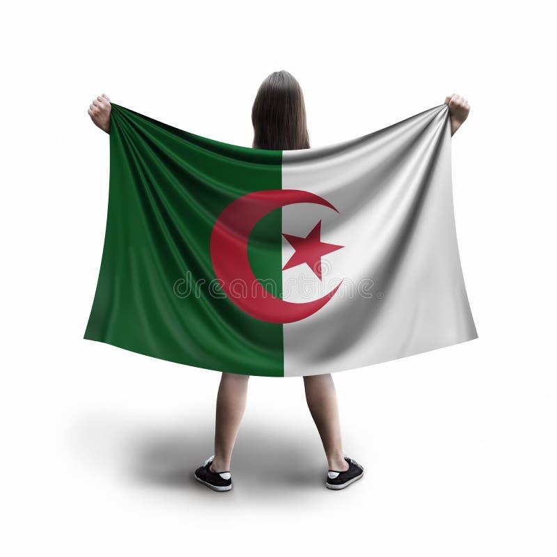 Femmes et drapeau algérien image libre de droits