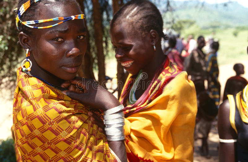 Femmes ethniques de Karamojong, Karamoja, Ouganda images libres de droits