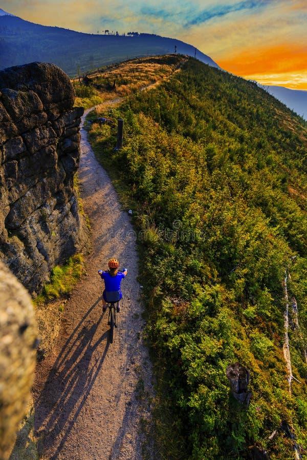 Femmes faisantes du vélo de montagne montant sur le vélo dans la forêt de montagnes d'été photos stock