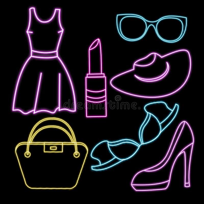 Femmes habillement, chaussures, sous-v?tements et accessoires Ic?ne au n?on de vecteur illustration libre de droits