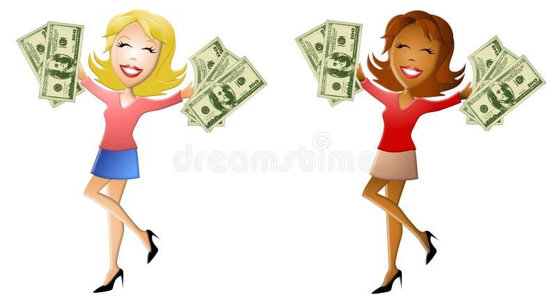 Femmes heureuses retenant un bon nombre d'argent comptant illustration de vecteur