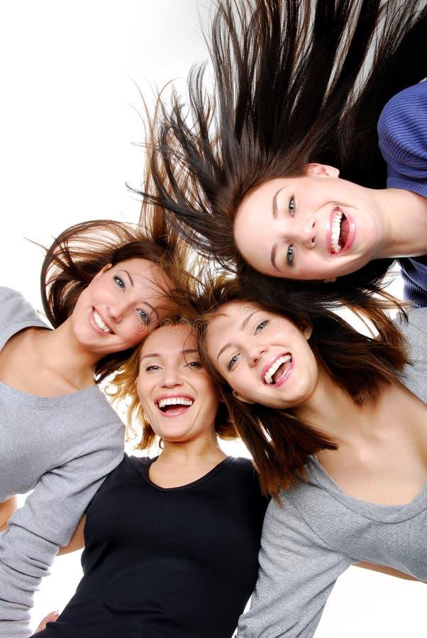 femmes heureux de verticale de groupe d'amusement photographie stock