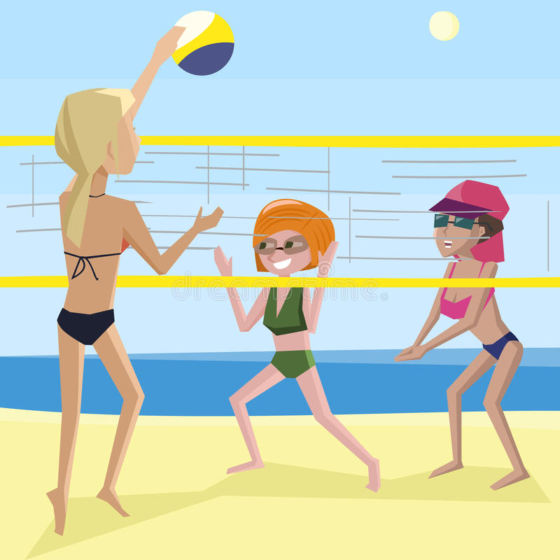 Femmes jouant le volleyball de plage illustration stock