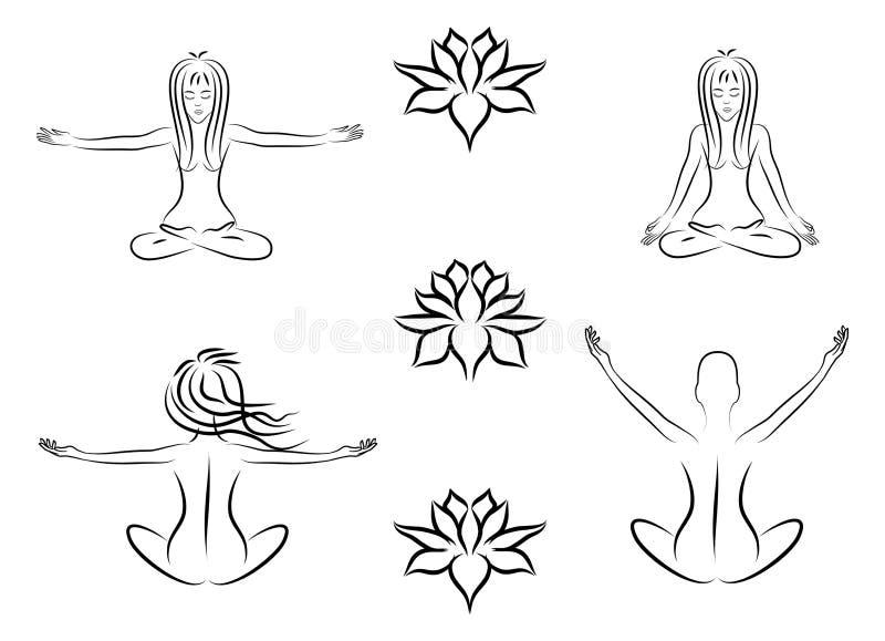 Femmes méditantes illustration de vecteur