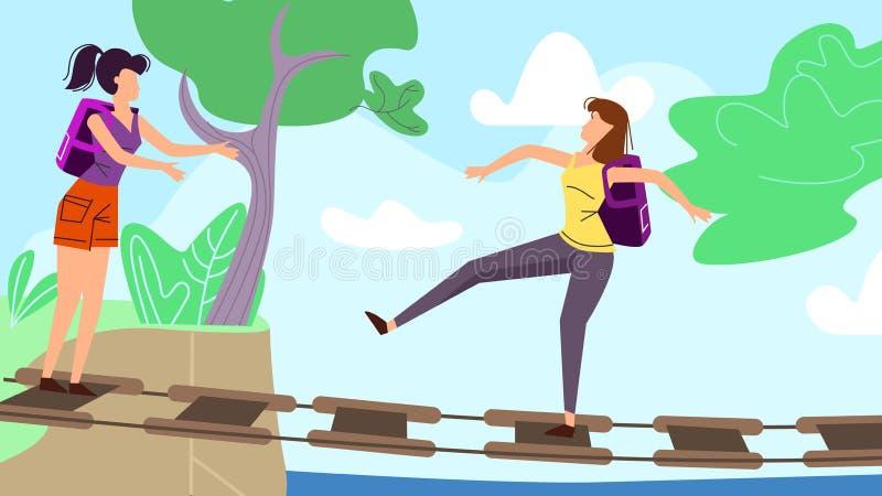 Femmes marchant le long du pont suspendu dans la forêt illustration de vecteur