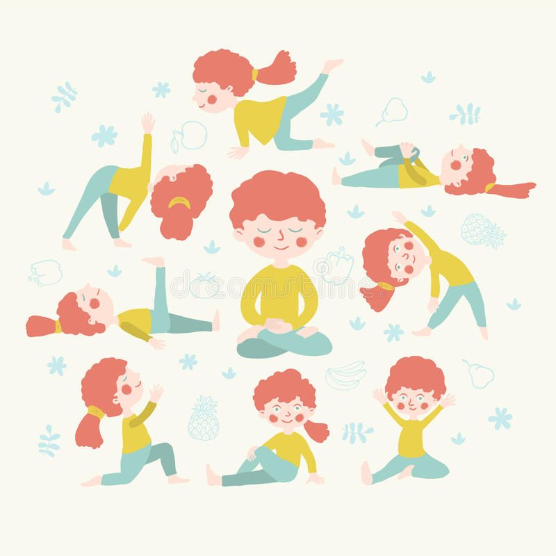 Femmes mignonnes faisant la position de yoga photographie stock libre de droits