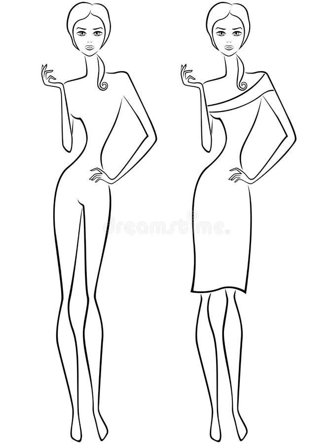 Femmes minces abstraites deux contours illustration libre de droits