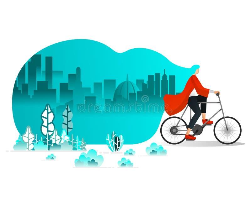 Femmes montant la bicyclette autour de la ville en été, vent violent dans les cheveux de soufflement de parc, faisant un cycle po illustration libre de droits