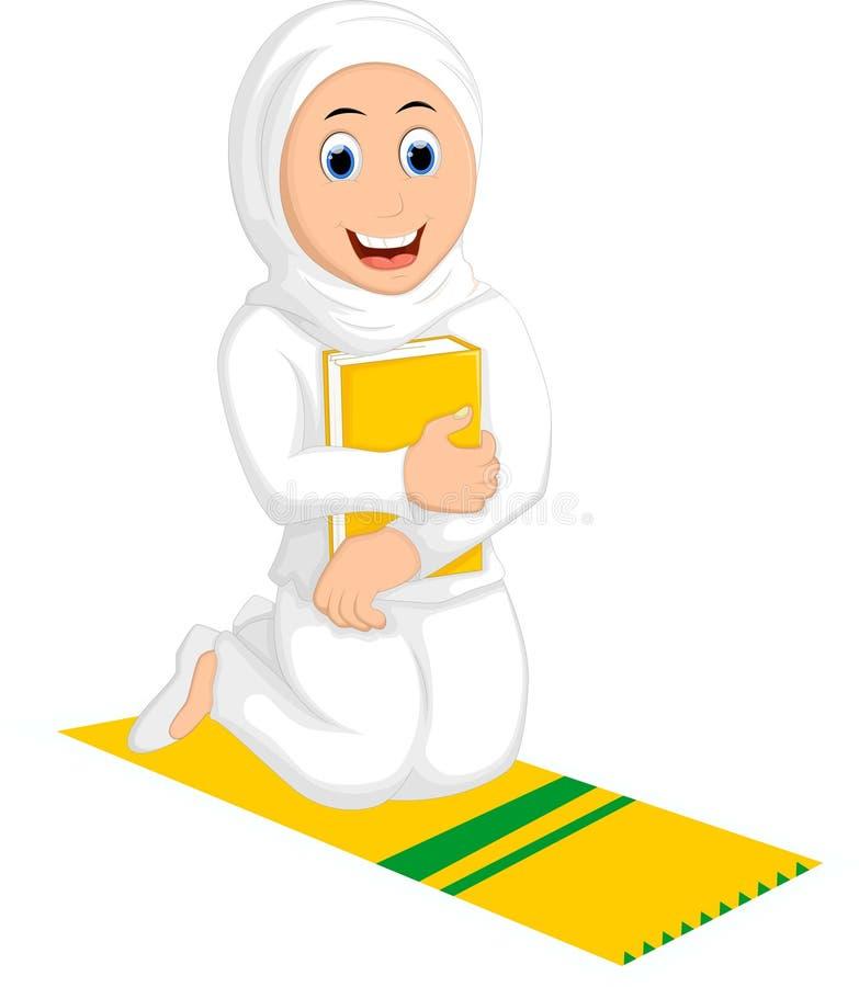 Femmes musulmanes de sourire priant avec étreindre un livre illustration libre de droits