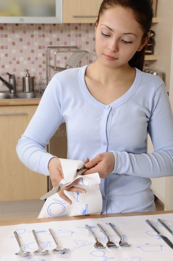 femmes nettoyant la maison image stock image du main 18448625. Black Bedroom Furniture Sets. Home Design Ideas