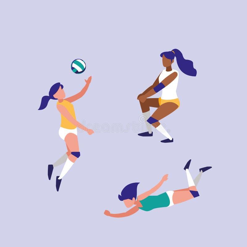 Femmes pratiquant l'icône d'isolement par volleyball illustration libre de droits