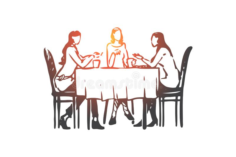Femmes, restaurant, table, plats, concept de conversation Vecteur d'isolement tir? par la main illustration stock