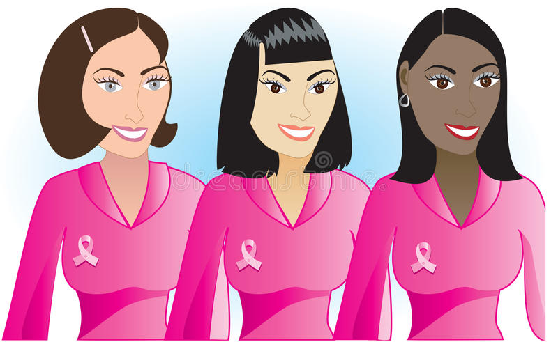 Femmes roses 1 de Cancer illustration libre de droits