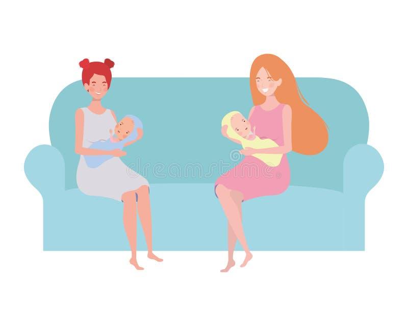 Femmes s'asseyant sur le divan avec un bébé nouveau-né dans des ses bras illustration de vecteur