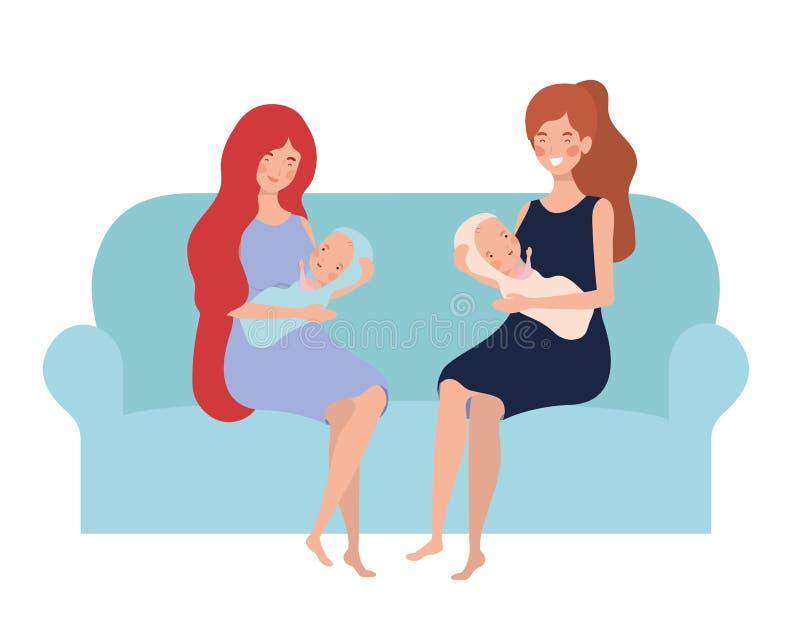 Femmes s'asseyant sur le divan avec un bébé nouveau-né dans des ses bras illustration stock