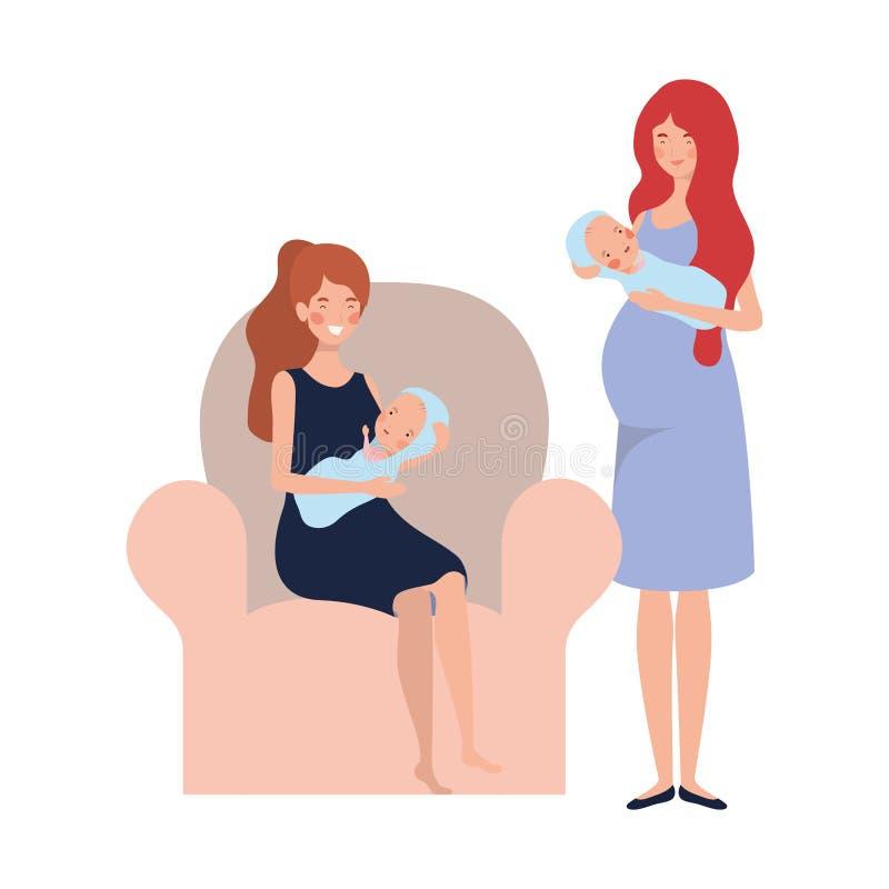 Femmes s'asseyant sur le divan avec un bébé nouveau-né dans des ses bras illustration libre de droits