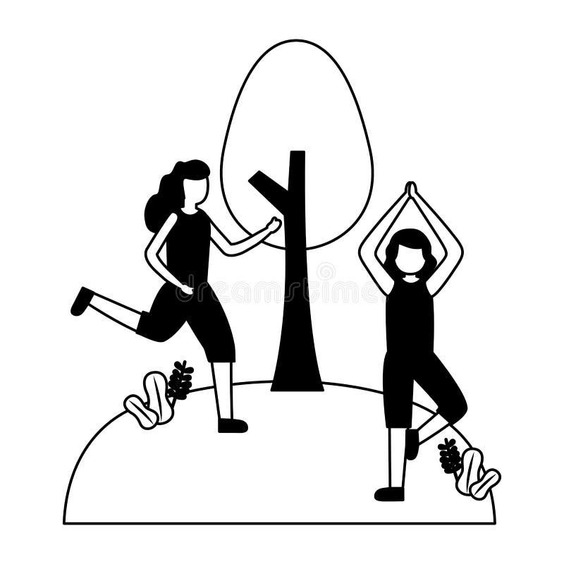 Femmes s'exerçant en parc illustration de vecteur