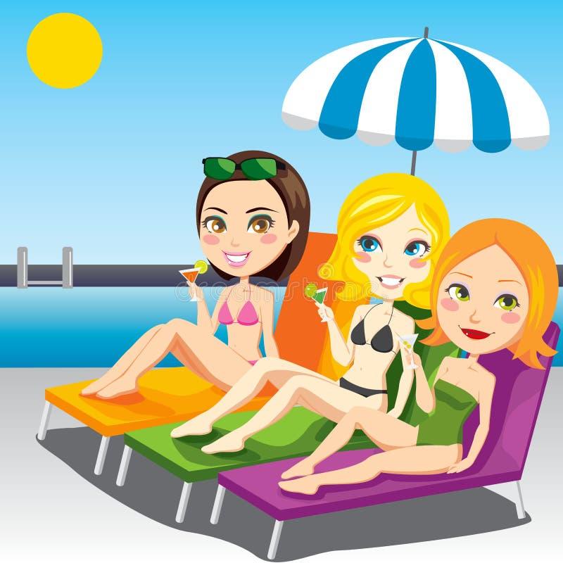 Femmes s'exposant au soleil illustration stock