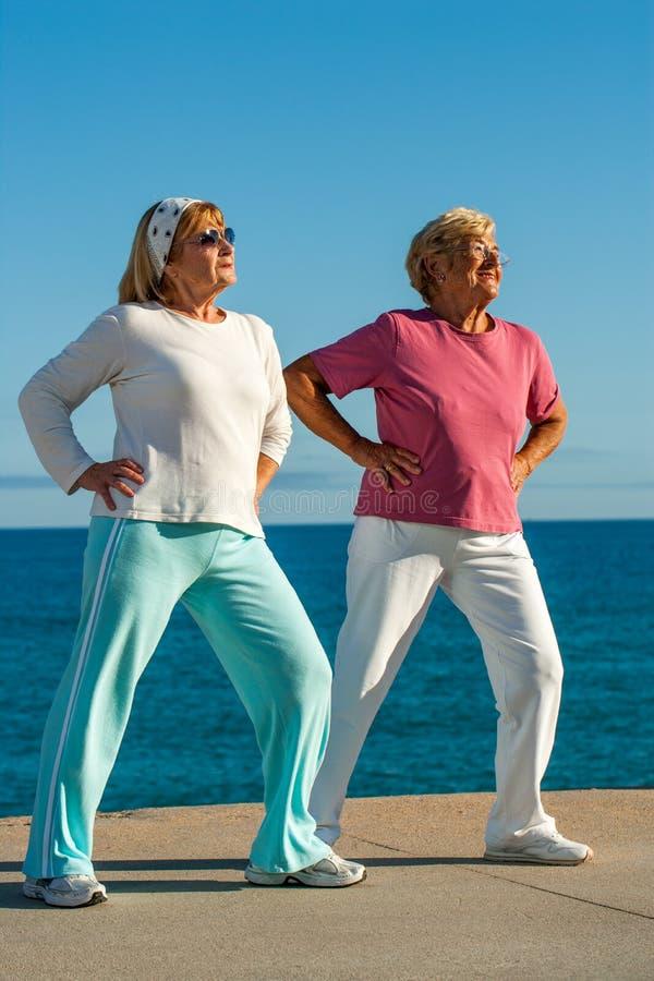Femmes supérieures faisant l'exercice dehors. photographie stock