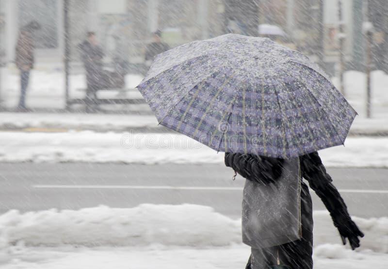 Femmes une marchant sous le parapluie en chutes de neige lourdes image stock