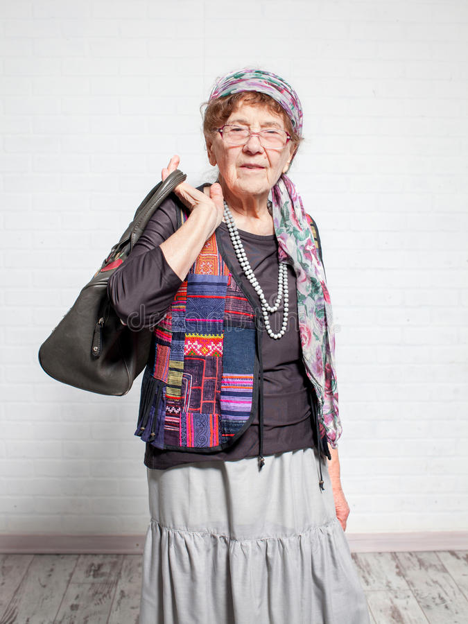 Femmina anziana felice immagini stock libere da diritti