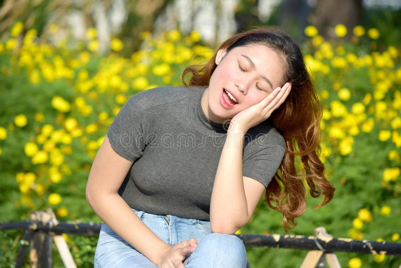 Femmina asiatica graziosa sonnolenta fotografia stock