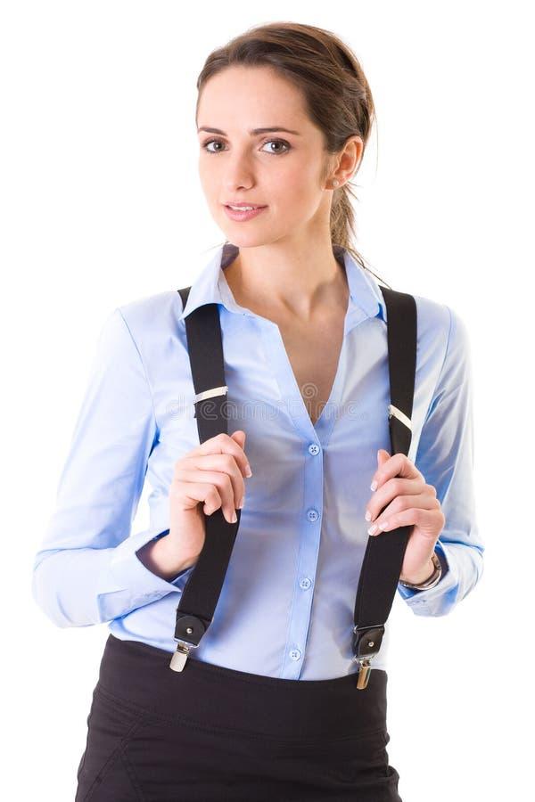 Femmina attraente in camicia ed in parentesi graffe blu fotografia stock libera da diritti