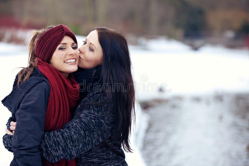 Femmina attraente che bacia il suo amico sulla guancia immagine stock