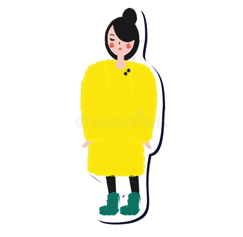 Femmina in cappotto giallo di inverno Autoadesivo della ragazza di modo di stile di vita nello stile disegnato a mano artistico royalty illustrazione gratis