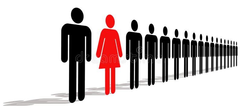 Femmina con gli uomini illustrazione di stock